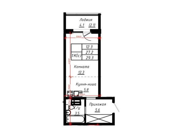 1-комнатная 29,3 кв.м