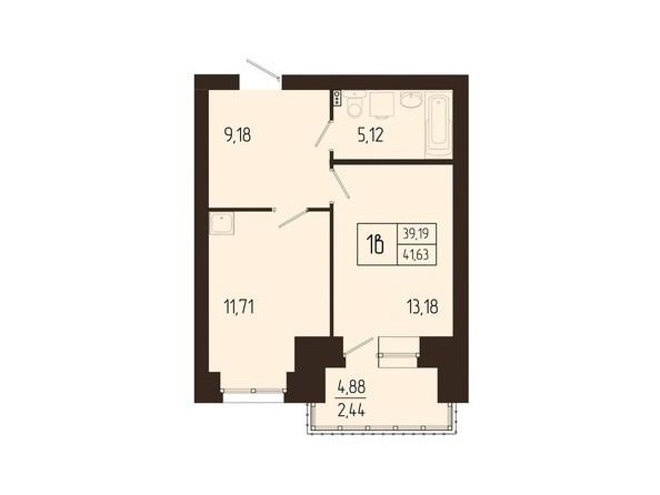 Планировки Жилой комплекс СВОИ ЛЮДИ  - Планировка однокомнатной квартиры 41,63 кв.м