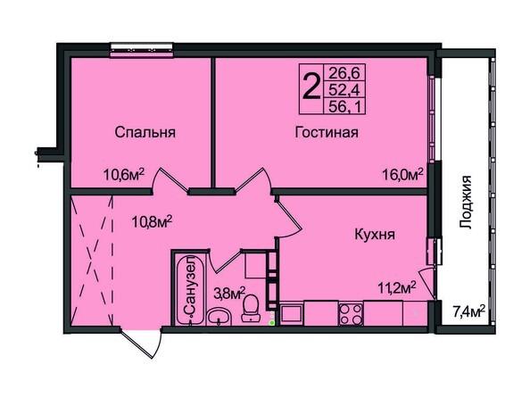 Планировка 2-комнатной квартиры 56,0
