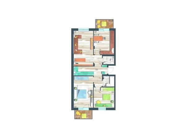Планировки Жилой комплекс ЖИВЁМ эко-район, 10 квартал, дом 1 - Планировка трехкомнатной квартиры 86,91 кв.м