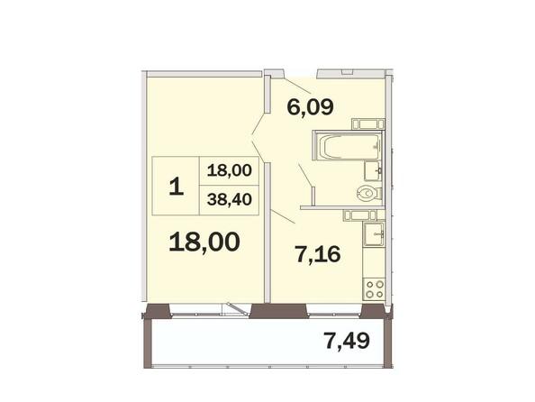 1-комнатная 38,4 кв.м