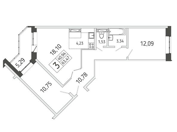 3-комнатная 63.47 кв.м