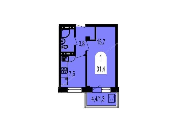 Планировки Жилой комплекс ТИХИЕ ЗОРИ, дом 1 (Красстрой) - Планировка однокомнатной квартиры 31,4 кв.м