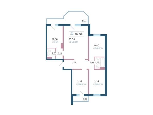 Планировка 4-комн 93,05 м²