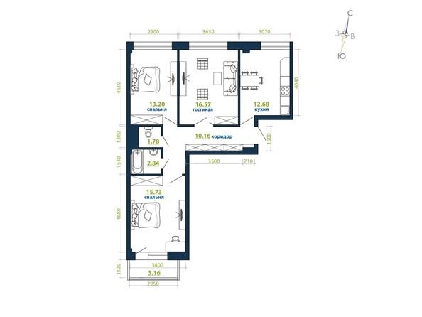 Планировка 3-комн 76,12, 76,81 м²