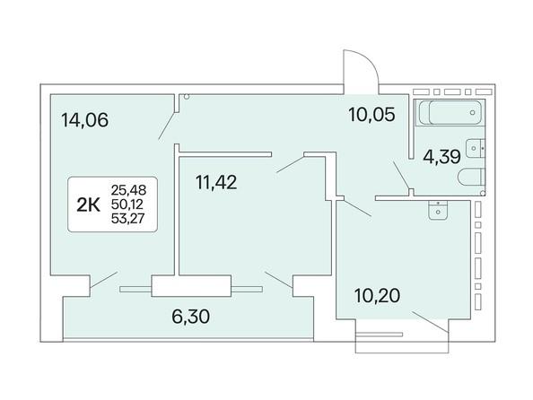 2-комнатная 53,27 кв.м