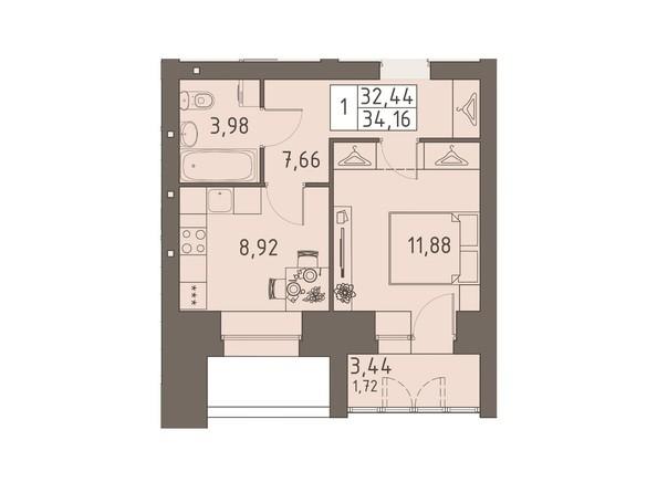 Планировки ВАВИЛОВСКИЙ ДВОРИК - 1-комнатная 34,16 кв.м