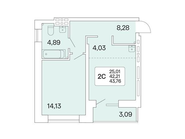 2-комнатная 43,76 кв.м
