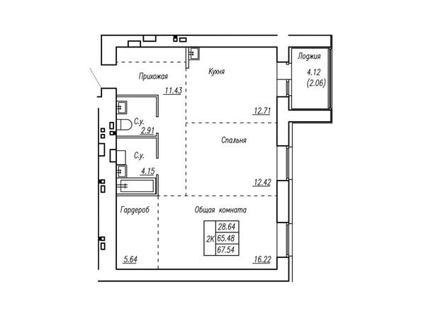 Планировки Жилой комплекс МОТОР, корпус 2 - Планировка трёхкомнатной квартиры 67,54 кв.м