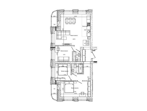 Планировка 4-комн 74,2, 75,7 м²