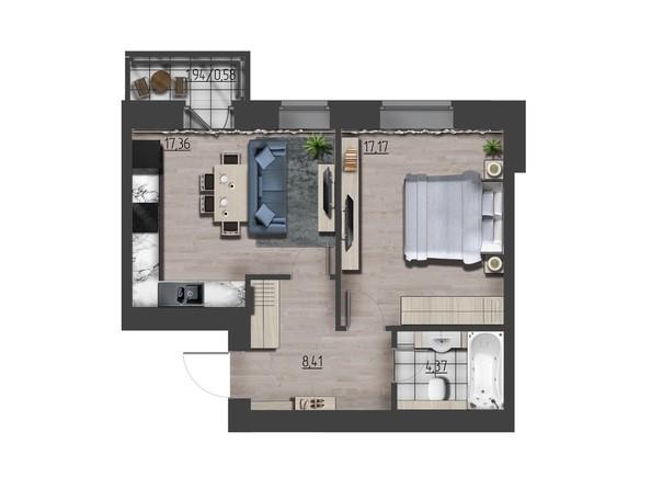 Планировки Жилой комплекс ПРЕОБРАЖЕНСКИЙ, дом 9 - 1-комнатная 47,60 кв.м