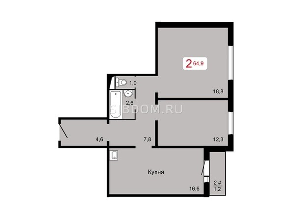 2-комнатная 64,9 кв.м