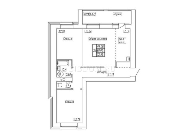 Планировка 3-комн 72,52 м²