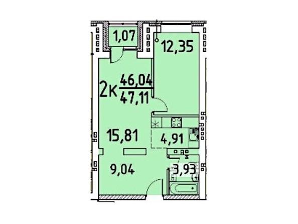 2-комнатная 47.11 46.04 кв.м