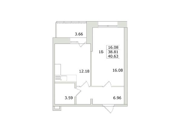 1-комнатная 40,63 кв.м