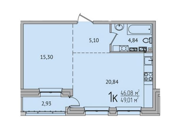 1-комнатная 48,93 кв.м