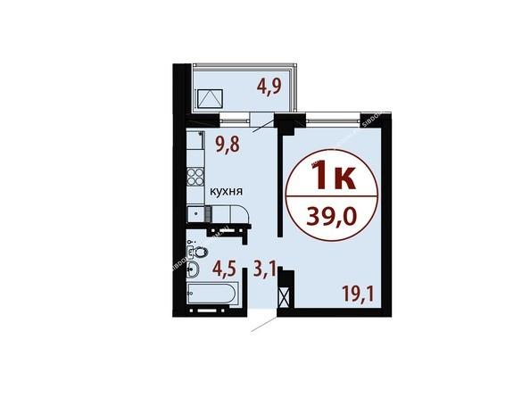 Планировки Жилой комплекс БЕЛЫЕ РОСЫ, дом 25 - Секция 2. Планировка однокомнатной квартиры 39,0 кв.м