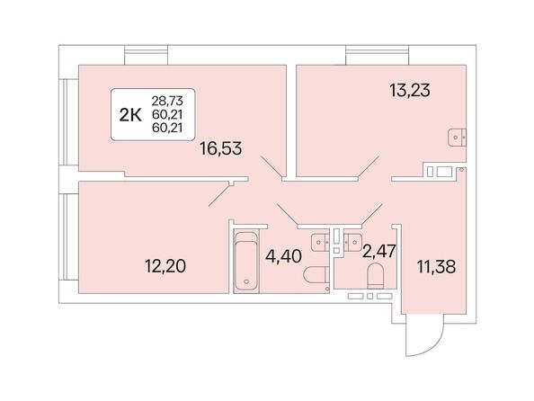 Планировка 2-комн 60,21 м²
