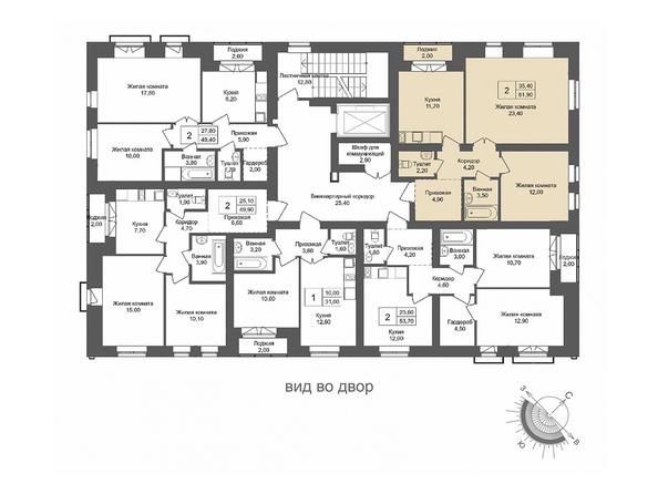 Планировки Жилой комплекс ОНЕГА, дом 2 - 2-комнатная 61,9 кв.м
