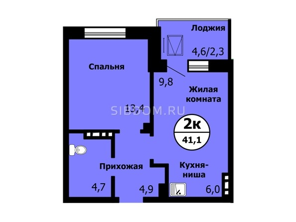 Планировка 2-комн 40,8 - 41,1 м²