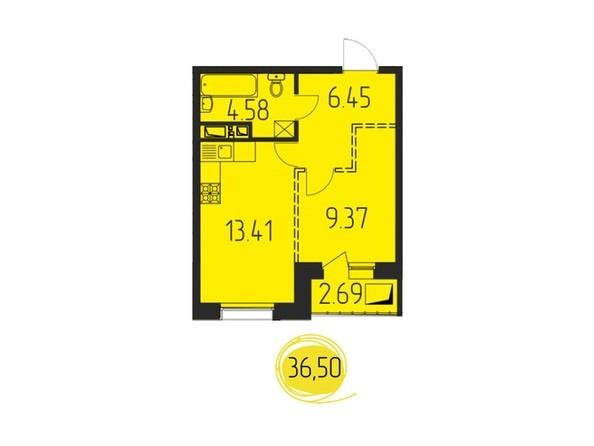 1-комнатная 36,50 кв.м