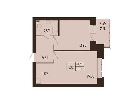Планировки Жилой комплекс СВОИ ЛЮДИ  - Планировка двухкомнатной квартиры 50,51 кв.м