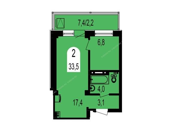 Планировки Жилой комплекс ТИХИЕ ЗОРИ, дом 1 (Красстрой) - Планировка двухкомнатной квартиры 33,5 кв.м