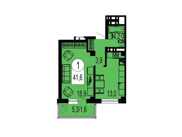 Планировка однокомнатной квартиры 41,6 кв.м