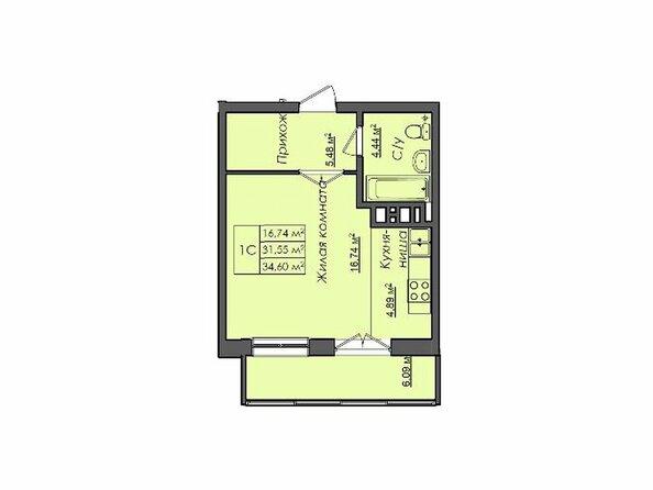 Планировки Жилой комплекс СИБИРЯЧКА - Планировка однокомнатной квартиры 34,6 кв.м