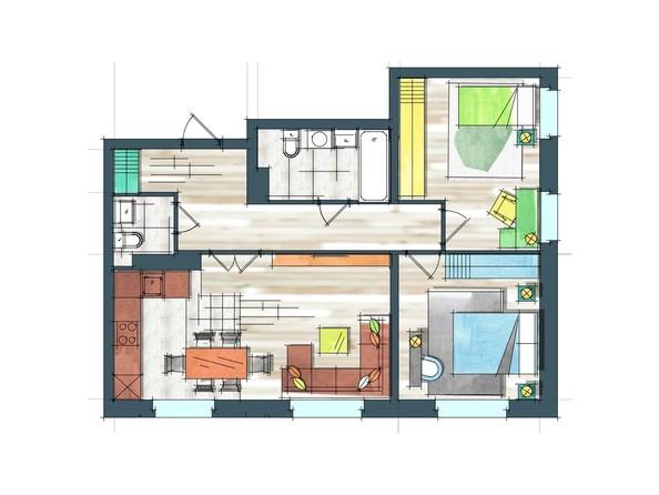 Планировки Жилой комплекс ПРЕОБРАЖЕНСКИЙ, дом 22, этап 2 - Планировка трехкомнатной квартиры 71 кв.м