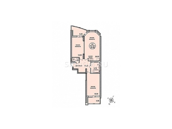 Планировка трехкомнатной квартиры 79,16 кв.м