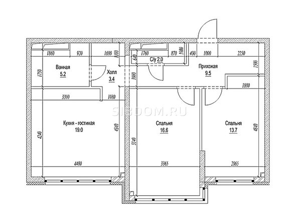 Планировка 3-комн 73,4 м²