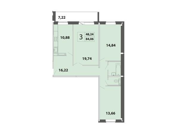 3-комнатная 84.06 кв.м