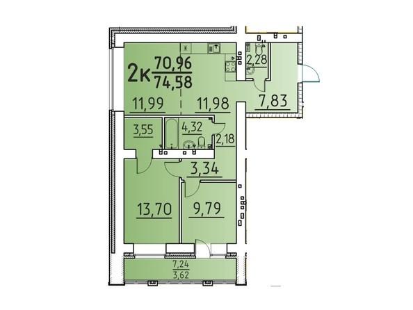 Планировка 2-комн 74,58 м²