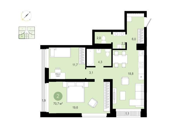 2-комнатная 70,69 кв.м