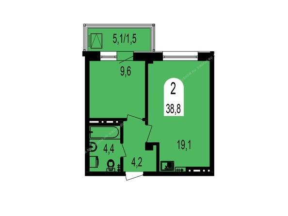 Планировки Жилой комплекс ТИХИЕ ЗОРИ, дом 1 (Красстрой) - Планировка двухкомнатной квартиры 38,8 кв.м