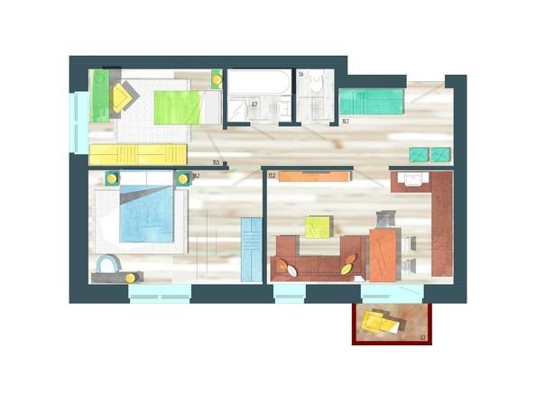 Планировки Жилой комплекс ЖИВЁМ эко-район, 10 квартал, дом 1 - Планировка трехкомнатной квартиры 59,5 кв.м