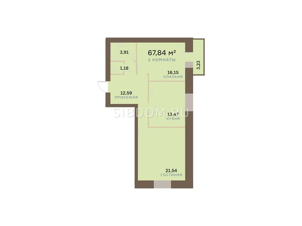 Планировки Жилой комплекс БОГРАДА 109, дом 1 - Планировка двухкомнатной квартиры 67,84 кв.м