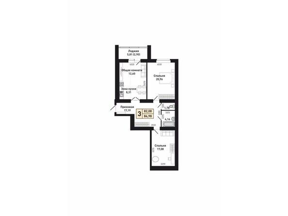 Планировки Жилой комплекс КРАСНООБСКИЙ, дом 230 - Планировка трехкомнатной квартиры 82,08 кв.м