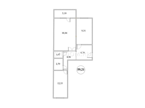 Планировка 2-комнатной квартиры 59,21 кв.м