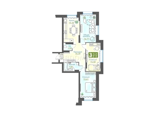 Планировка 3-комн 85,83 м²