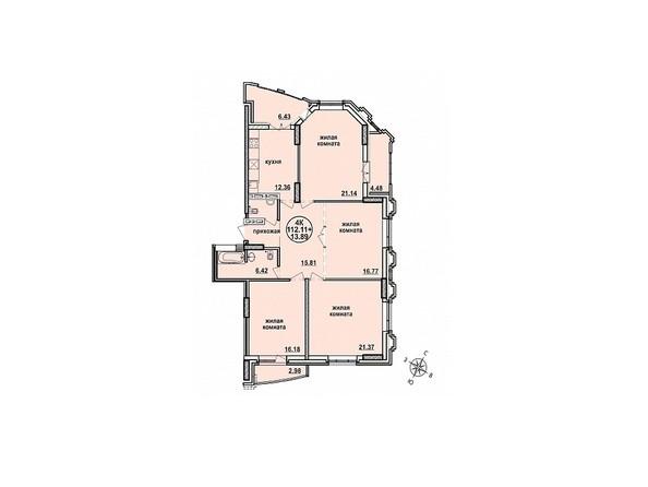 Планировки Жилой комплекс ЗАЕЛЬЦОВСКИЙ, 2 этап - Планировка четырехкомнатной квартиры 112,11 кв.м