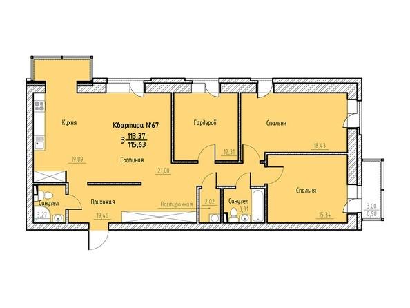 Планировка 3-комн 114,74 - 116,63 м²