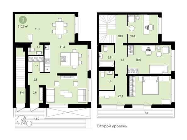 Планировка 3-комн 140,37, 140,4 м²