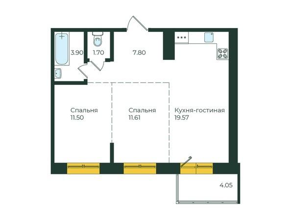 2-комнатная 60,13 кв.м.