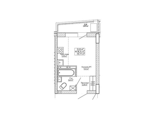 Планировка однокомнатной квартиры 19,77 кв.м