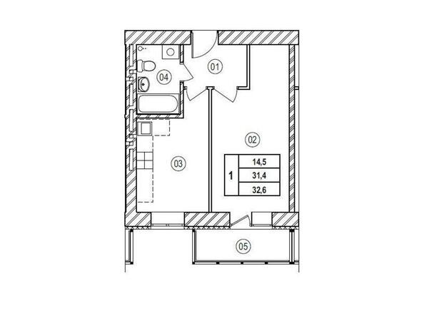 Планировки Жилой комплекс ВЕРХНИЙ БУЛЬВАР, 7 дом, б/с а,б,в - Планировка однокомнатной квартиры 32,6 кв.м