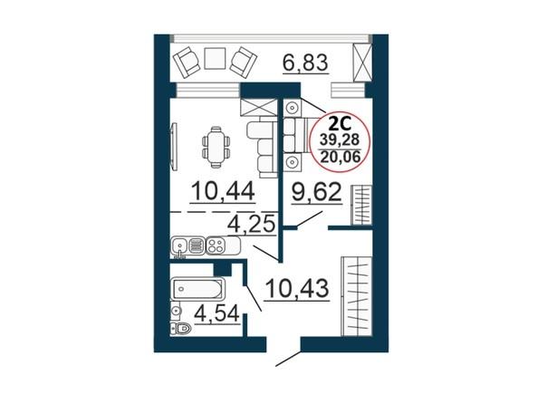Планировка 2-комн 39,03, 39,28 м²