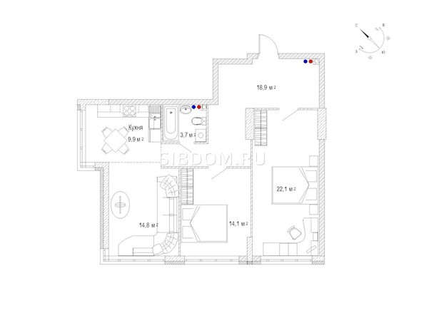 Планировка трёхкомнатной квартиры 85,8 кв.м