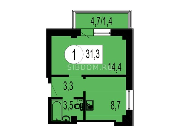 Планировка 1-комнатной квартиры 31,3 кв.м